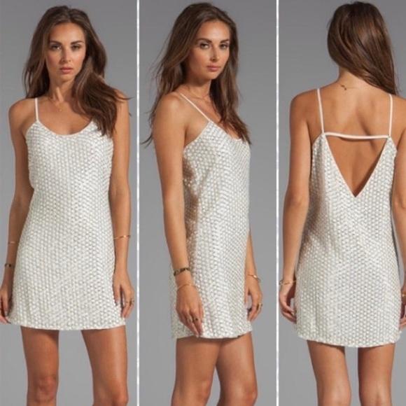 Parker Dresses & Skirts - Parker white leather sequin cocktail dress
